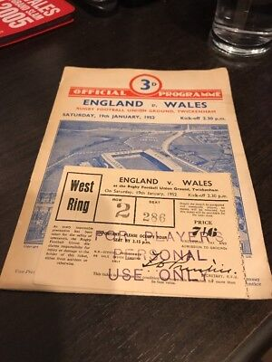 England v Wales 1952 - Grand Slam Rugby Programme & Ticket