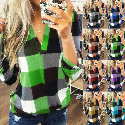 Plus Size Womens Long Sleeve Blouse Shirt Ladies Plaid V Neck Casual Top TShirt