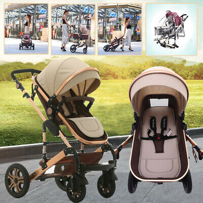 Baby Stroller 9 in1 High View Pram foldable pushchair & Bassinet Luxury carriage