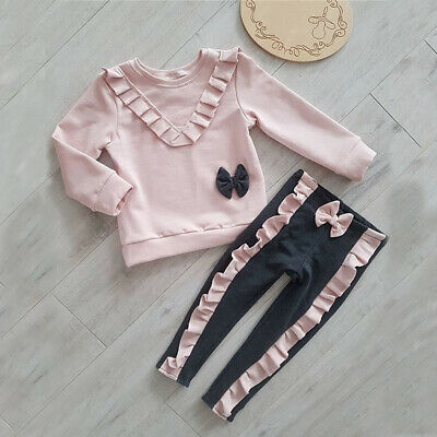 Sweets Toddler Kid Baby Girl Shirt Top + Long Pants Trousers Outfits Clothes Set