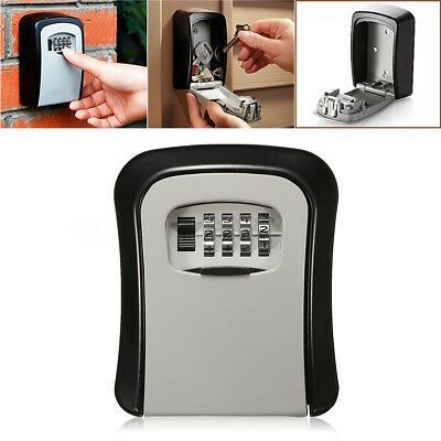 Wall Mount 4 Digit Key Storage Box Cabinet Safety Box Combination Heavy Lock