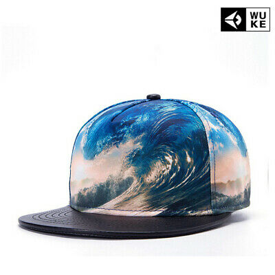 Fashionable Durable Art Painting Flat Brim Outdoor Sport Surf Pattern Peaked Cap