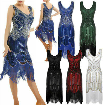 Womens Latin Sequins Beaded Tassel Flapper Dress 1920s Party Cocktail Prom Dress