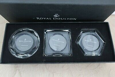 ROYAL DOULTON cut glass RADIANCE Collection 3 MINI PHOTO FRAMES Box