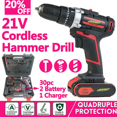 2 Battery 21V Cordless Combi Impact Hammer Drill Driver Screwdriver Flat drill