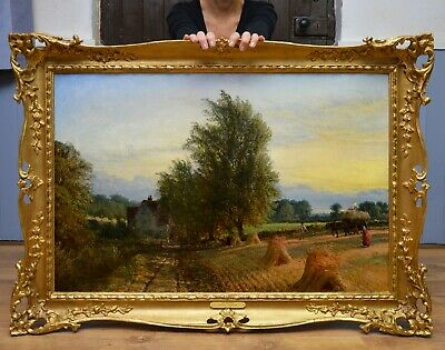 Fine Large 19thC English Landscape Oil Painting of Summer Evening Harvest Sunset