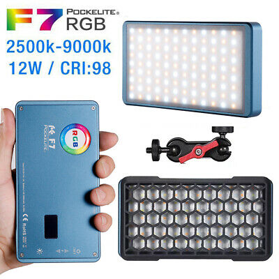 FalconEyes F7 12W RGB LED Pocket Camera Photography Vlog Video Fill Light + Grid