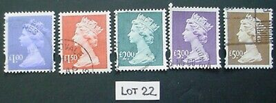 1993 Gb: Used High Value Machin Definitives:  Lot 22