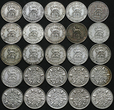 George V 1911-1916 & 1918-1936 Sixpence Collection Mixed Collectable Grades