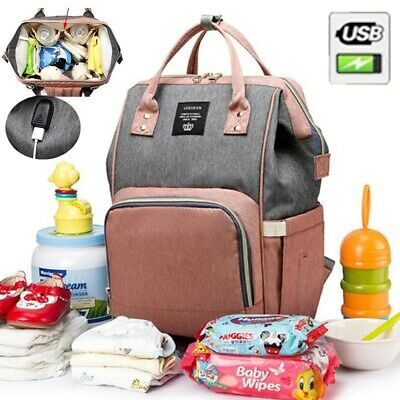 AU LEQUEEN USB Port Backpack Baby Diaper Rucksack Mummy Maternity Nappy Bag New
