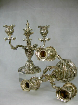 Pair Of Candleholders 3 Lights, Rococo Style, Era 19Th - Bronze - French Antique