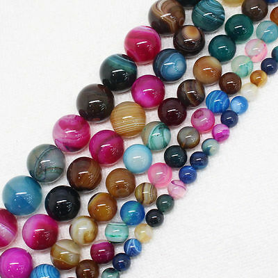 15'' Natural Colorful Stripes Agate Gemstone Round Spacer Loose Beads 4/6/8/10MM