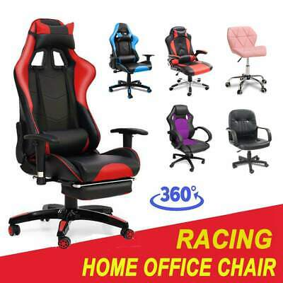 Leather Executive Chair Gaming Racing Computer Office Adjustable Swivel Recliner