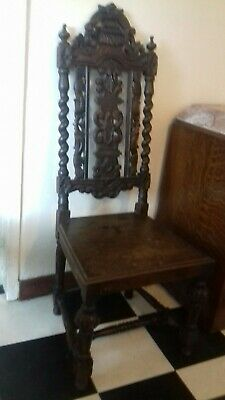 Antique Late Victorian Gothic Revival Hall Side Chair*Carved Back*Decorative*