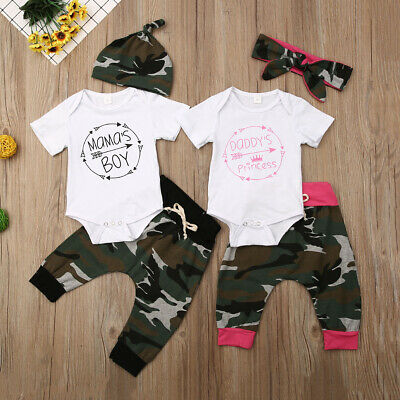Newborn Toddler Baby Girl Boy Romper Tops Camo Pants Home Outfit Set Clothes Set