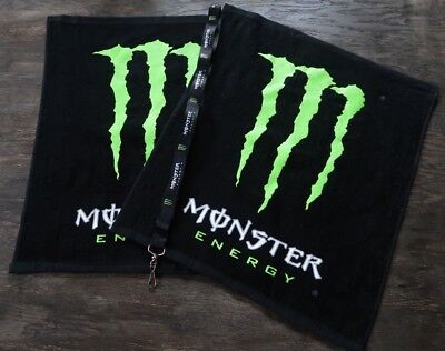 2  New Monster Energy hand,gym,garage,bar,sports,towels and lanyard combo.