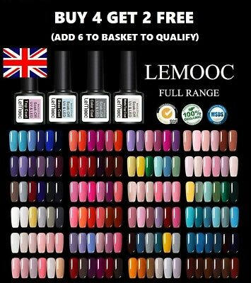 UV Nail Gel Polish Soak Off LED LEMOOC ® Colour Manicure Base Top Matte Coat 8ml