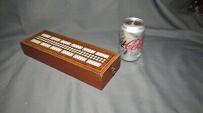A LARGE 19th CENTURY INLAYED CRIBBAGE BOARD/GAMES BOX