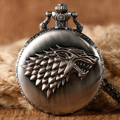 Antique Game of Thrones Stark Family Crest Winter is Coming Design Pocket Watch