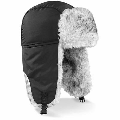 Beechfield Black Warm Winter Sherpa Russian Ushanka Hat Faux Fur