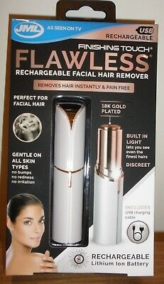 JML Rechargable Finishing Touch Flawless Facial Hair Remover - White/Gold - New
