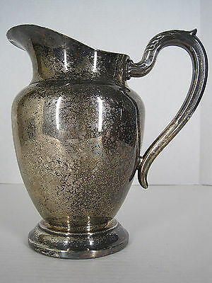 Vintage Rogers Silver Plate Pitcher Ice Guard Shabby Cottage Patina Decor