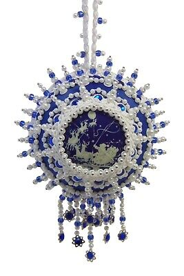 """SATIN BEADED CHRISTMAS ORNAMENT KIT - """"From Out Of The Blue"""""""