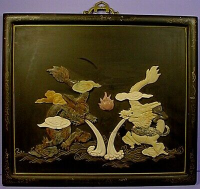 Vintage Chinese Black Lacquered Wood & Overlaid Carved Soapstone Wall Plaque #1