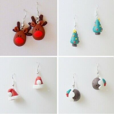 Handmade Christmas Fimo Polymer Clay Silver Plated Earrings Various Designs
