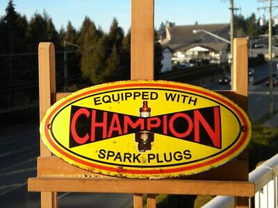 "CHAMPION SPARK PLUGS OLD PORCELAIN SIGN ~11-3/4""x 5-3/4"" MOTORCYCLE GAS CAR OIL"