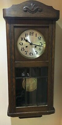 FINE ORIGINAL GERMAN STRIKING OAK WALL CLOCK SIX BEVELED GLASS PANELS c1925