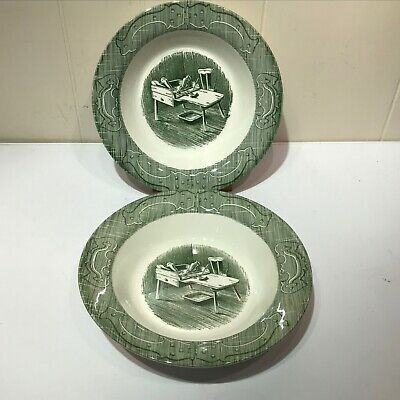 "2 Royal China The Old Curiosity Shop 9"" Round Green Serving Bowl Cobbler's Bench"