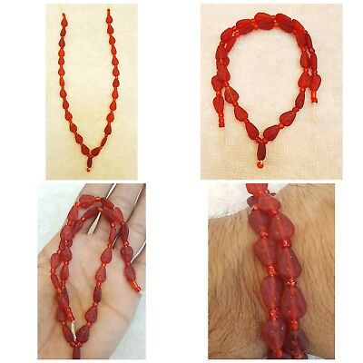 Old Red Glass  Ancient Glass Wonderful Shape Beads Strand Old Necklace