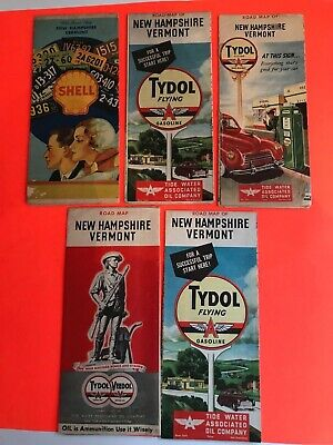 Lot Of 5 Vintage 1930 - 1940 Nh & Vt Flying A Road Maps