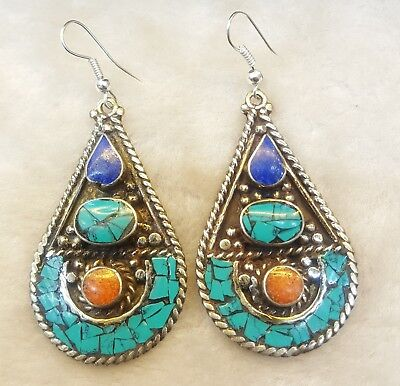 Medieval Turquoise Coral And Lapis Stone Beautiful Tibetan Old Silver Earings