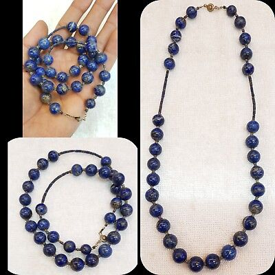 Wonderful Old Medieval Lapis lazuli Stone Beautiful Necklace  12mm.