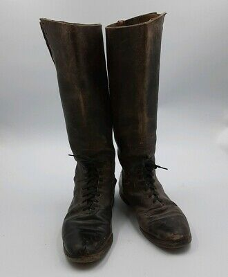 Antique Early Century Calvary Boots Riding Boots Old Brown Leather Distressed