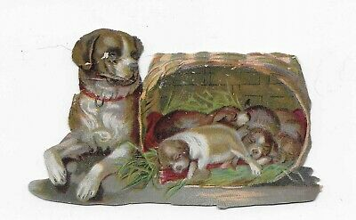 Victorian Trade Card * REMERS TEA STORE * SYRACUSE NY * Dog & Puppies * Die Cut