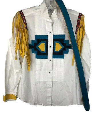 Rodeo Tuxedo Shirt Size 8 Costume With Suede Belt No Buckle Western