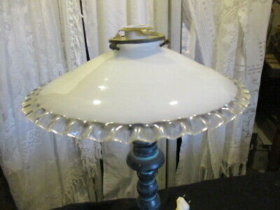 Antique Vintage French Lampshades, White Opaline Glass, pie crust rim. PAIR