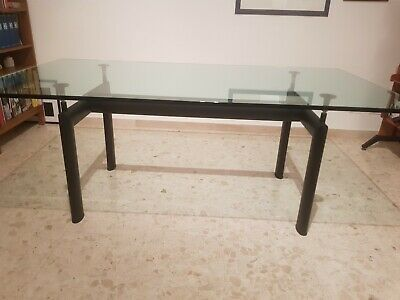 TAVOLO LE CORBUSIER LC6 base nero 2 top cristallo 100×190 e ...