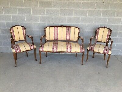 Vintage French Louie Xv Style Upholstered Settee & Arm Chairs - 3 Piece Set