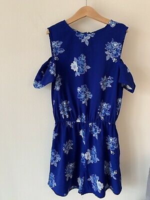 Girls New Look Age 12 Blue Floral Playsuit Outfit 11-12 Years