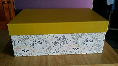 Wilko White Leaf Patterned Storage Box with Mustard Coloured Lid