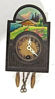 Small Wind-up Vintage Wall Clock w/Chalet Scene -Cuckoo Style