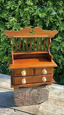 Vintage Wooden Miniature Carpenters Apprentice Piece Small Dresser With Draws *