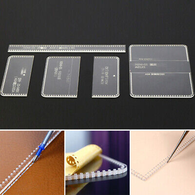 Transparent Leather Craft Acrylic Card Holder Pattern Stencil Template Tool Set
