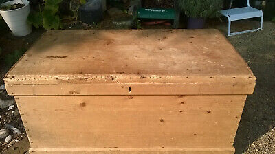 Antique Pale Pine Flat Topped Blanket Box Trunk - Coffee Table
