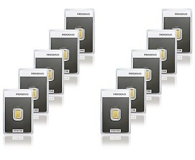 10x Heraeus 1g Gold Bar in Assay - 10 Bars in total - BRAND NEW & SEALED