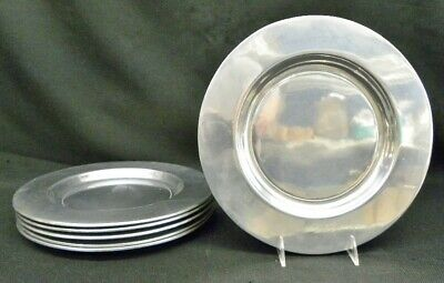 """6 Vintage RWP Wilton Armetale 12"""" Plain Pewter Silver Chargers Columbia PA"""